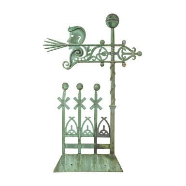 View 1. Thumbnail of Lot 24. VERY FINE AND RARE MOLDED SHEET COPPER 'NORTH WIND' WEATHERVANE, A.B. & W.T. WESTERVELT, NEW YORK, CIRCA 1883.