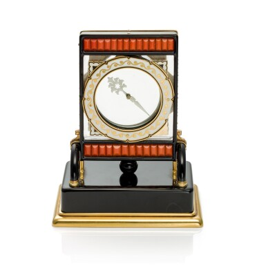 View 2. Thumbnail of Lot 93. PENDULE ECRAN AN IMPORTANT AND RARE ROCK CRYSTAL, ONYX, ENAMEL, CORAL, YELLOW GOLD AND DIAMOND-SET MYSTERY DESK TIMEPIECE, CIRCA 1926.