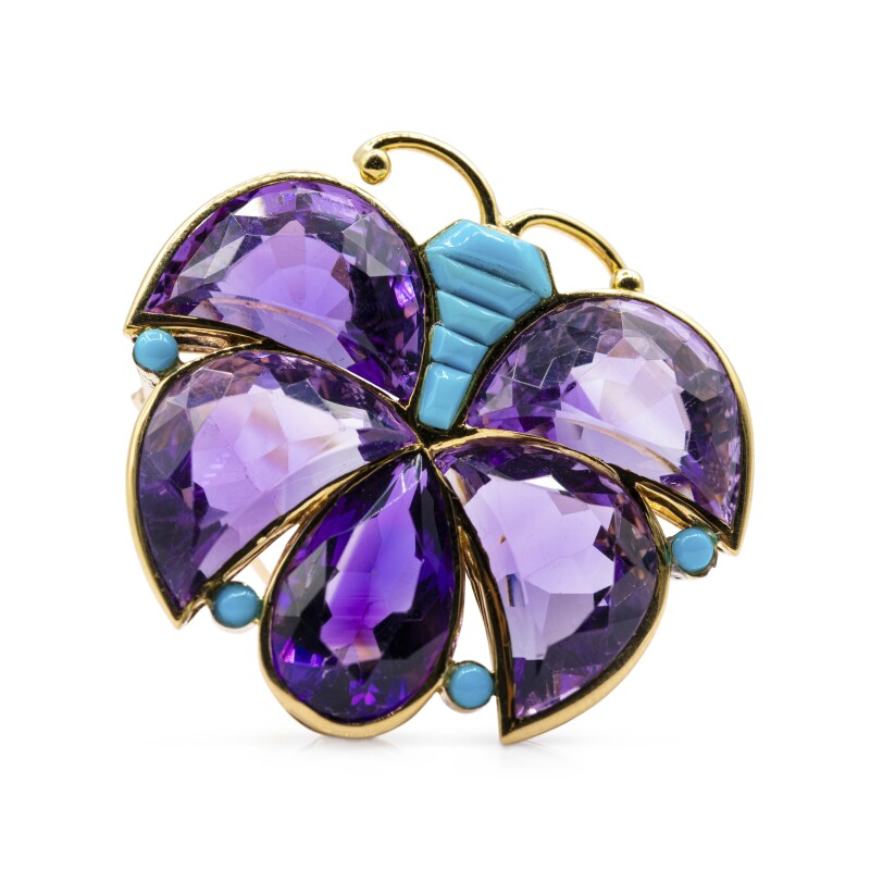 Amethyst and Turquoise Brooch