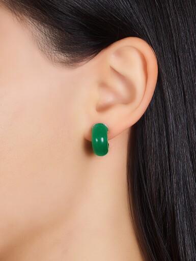 View 5. Thumbnail of Lot 1721. Jadeite, Diamond and Ruby Ring; and Pair of Jadeite Ear Clips | 天然翡翠 配 鑽石 及 紅寶石 戒指; 及 天然翡翠耳環一對.