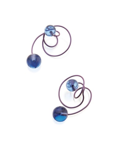 PAIR OF TITANIUM AND GLASS 'CARNAVAL A VENISE' EARCLIPS, JAR, PARIS