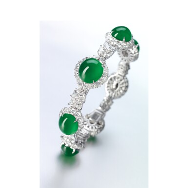 View 2. Thumbnail of Lot 1642. JADEITE AND DIAMOND BRACELET   天然翡翠 配 鑽石 手鏈.