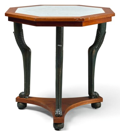 A DIRECTOIRE STYLE PAINTED AND MAHOGANY GUÉRIDON