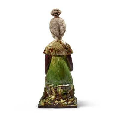 View 5. Thumbnail of Lot 179. A sancai-glazed pottery figure of a seated court lady, Tang dynasty | 唐 三彩仕女坐俑.