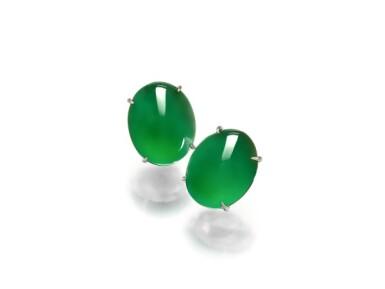 View 1. Thumbnail of Lot 1858. Pair of Imperial Green Jadeite Earrings | 天然「帝王綠」翡翠耳環一對.