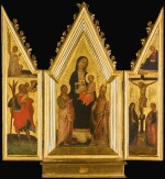 MASTER OF SAN JACOPO A MUCCIANA | A portable triptych: The Madonna and Child flanked by saints (central panel); Saint Christopher (left wing); The Crucufixion (right wing)
