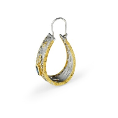 View 3. Thumbnail of Lot 94. Pair of sapphire and diamond earrings [Paire de boucles d'oreille saphirs et diamants].