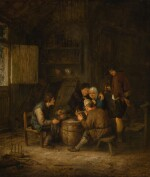 ADRIAEN JANSZ. VAN OSTADE | Peasants smoking and drinking in an inn