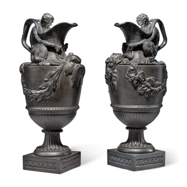 A PAIR OF WEDGWOOD AND BENTLEY BLACK BASALT 'WATER' AND 'WINE' EWERS CIRCA 1775