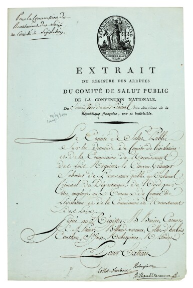 View 1. Thumbnail of Lot 111. ROBESPIERRE   document signed, also signed by two other members of the Committee for Public Safety, 1794.