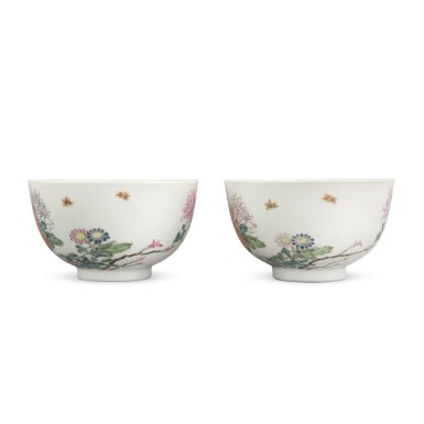 View 3. Thumbnail of Lot 205. A pair of later-enameled famille-rose 'floral' bowls, Marks and period of Yongzheng   清雍正 後加彩粉彩牡丹圖盌一對 《大清雍正年製》款.