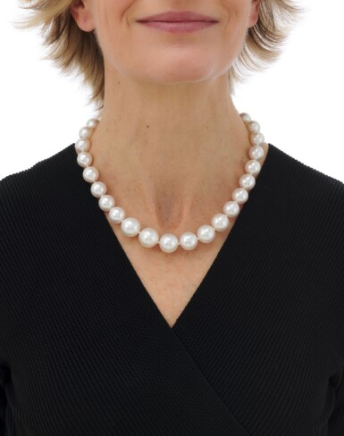 View 4. Thumbnail of Lot 143. Cultured pearl and diamond necklace (Collana in perle coltivate e diamanti).