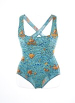 Turquoise 'mosaic' printed swimsuit, leggings and blouse, Hermès
