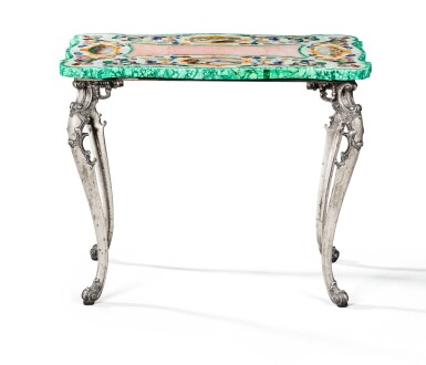 A SMALL COFFEE TABLE WITH SILVER FEET, THE TABLE TOP WITH HARD STONES MARQUETRY, ITALY, CIRCA 1950 | PETITE TABLE BASSE, LES PIEDS EN ARGENT, LE PLATEAU EN MARQUETERIE DE PIERRES DURES, ITALIE, VERS 1950, ATTRIBUÉE À MAZZETTI