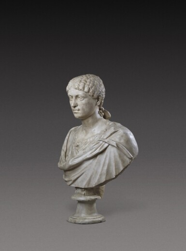 View 3. Thumbnail of Lot 72. A Roman Marble Portrait Bust of a Woman, Reign of Agrippina, circa A.D. 20-40.