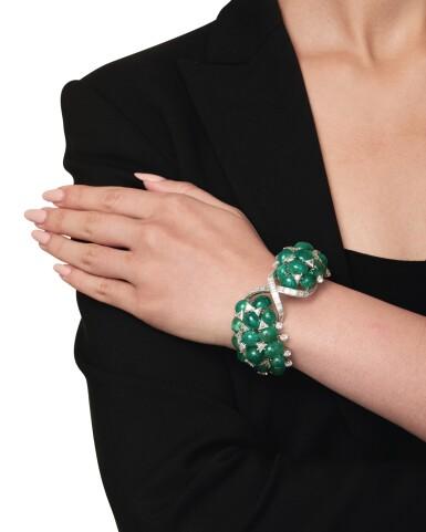 View 4. Thumbnail of Lot 60. David Webb | Emerald and Diamond Bracelet.