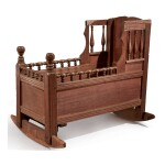VERY RARE PILGRIM CENTURY TURNED AND JOINED MAPLE, OAK AND PINE CRADLE, SOUTHEASTERN MASSACHUSETTS OR RHODE ISLAND, CIRCA 1685