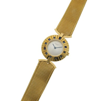 View 2. Thumbnail of Lot 120. PATEK PHILIPPE   REF 3453, A YELLOW GOLD AND SAPPHIRE-SET BRACELET WATCH CIRCA 1945.