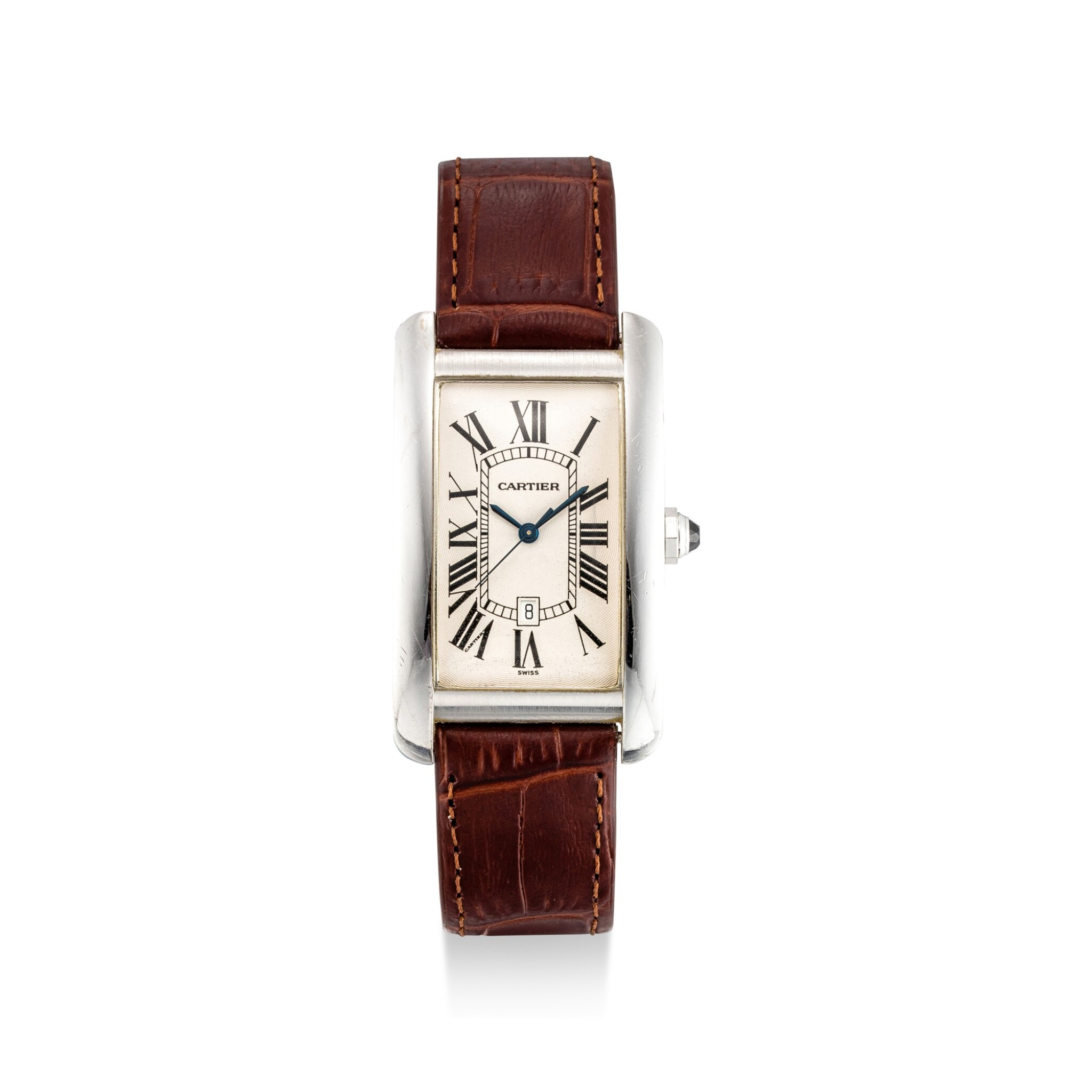 View full screen - View 1 of Lot 610. CARTIER | TANK AMÉRICAINE, REFERENCE 1741 A WHITE GOLD WRISTWATCH, CIRCA 1990.
