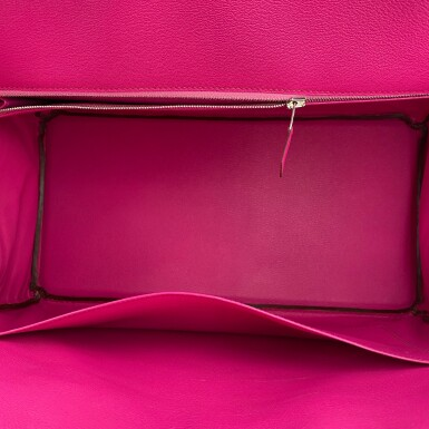 View 6. Thumbnail of Lot 304. Fuchsia Birkin 40cm in Shiny Porosus Crocodile with Palladium Hardware, 2009.