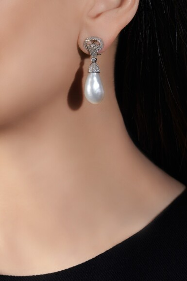 View 5. Thumbnail of Lot 603. Bulgari | Pair of natural, cultured pearl and diamond ear clips | 寶格麗 | 天然珍珠、養殖珍珠配鑽石耳環一對.