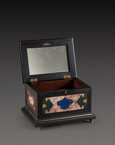 View 6. Thumbnail of Lot 179. An Italian pietra paesina and hardstones inlaid ebonised casket, the panel in the lid, Florence, 18th century, the other panels, Rome and 17th century; the casket late 19th century/early 20th century.