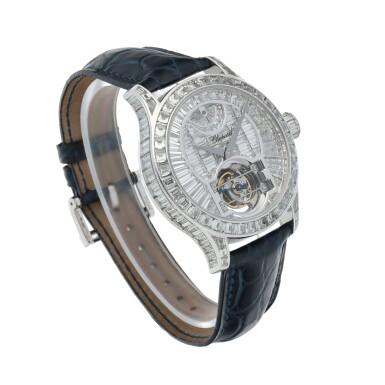 View 3. Thumbnail of Lot 59. L.U.C. Tourbillon, Ref. 171908-1001 Limited edition white gold and diamond-set tourbillon wristwatch with power reserve indication and total diamond weight of 22.95 carats Made in 2005 | 蕭邦171908-1001型號「L.U.C. Tourbillon」限量版白金鑲鑽石陀飛輪腕錶備動力儲存顯示,鑽石總重22.95克拉,2005年製.