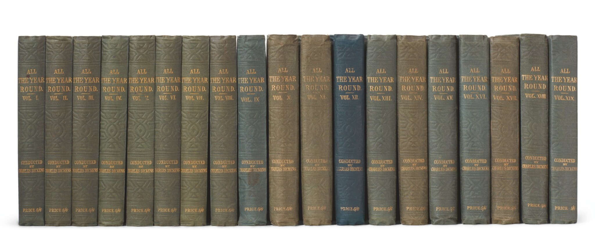 View full screen - View 1 of Lot 177. Dickens, All the Year Round, 1859-68, 19 volume set .