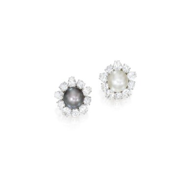 PAIR OF NATURAL PEARL AND DIAMOND EARCLIPS | 天然珍珠配鑽石耳環一對
