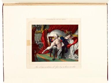 View 3. Thumbnail of Lot 155. Romantisme secret, an album of erotic prints, [Paris, 1840s-1850s], half red morocco.