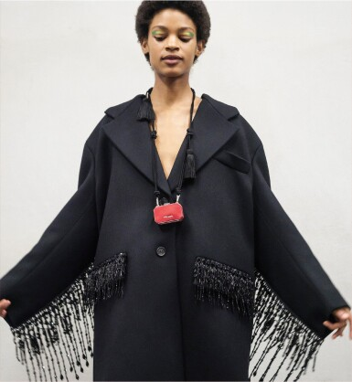 View 1. Thumbnail of Lot 8. PRADA | WOOL BEADED FRINGE COAT AND VANITY NECKLACE,   WORN BY THERESA HAYES.