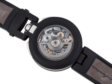 BOVET | CAMBIANO PININFARINA STAINLESS STEEL AND BLACK DLC CHRONOGRAPH WRISTWATCH WITH DATE AND CONVERTIBLE CASE CIRCA 2013