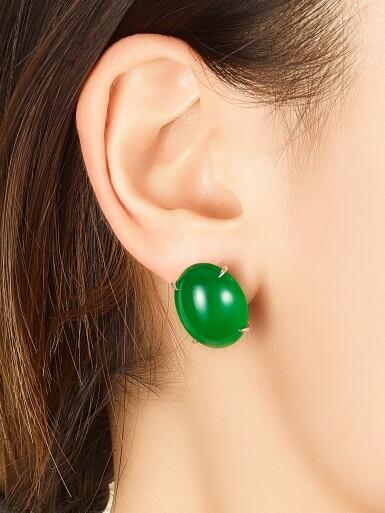 View 3. Thumbnail of Lot 1858. Pair of Imperial Green Jadeite Earrings | 天然「帝王綠」翡翠耳環一對.