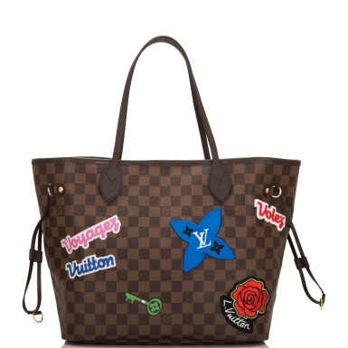 View 5. Thumbnail of Lot 86. Louis Vuitton Patches Neverfull MM of Damier Ebene Canvas with Polished Brass.