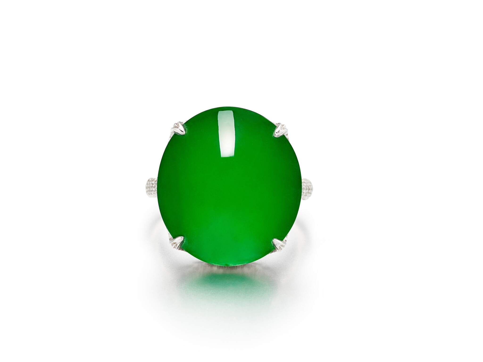 View full screen - View 1 of Lot 1859. Imperial Green Jadeite and Diamond Ring |  天然「帝王綠」翡翠 配 鑽石 戒指.