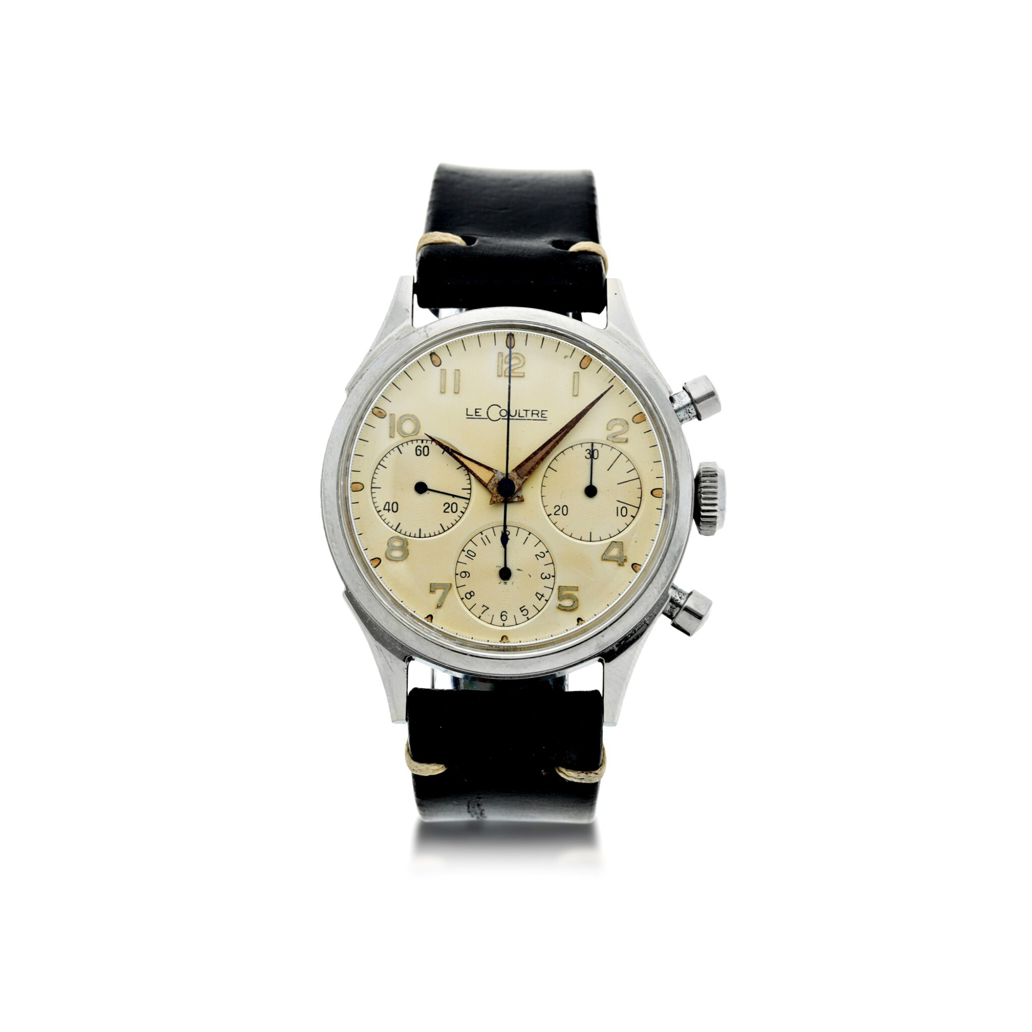 View full screen - View 1 of Lot 72. VALJOUX 72  A STAINLESS STEEL CHRONOGRAPH WRISTWATCH, ORIGINALLY OWNED BY NASA ASTRONAUT, WALTER 'WALLY' M. SCHIRRA, CIRCA 1950.