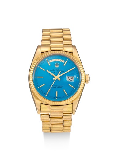 ROLEX | DAY-DATE, REFERENCE 1803, A PINK GOLD CALENDAR WRISTWATCH WITH BLUE STELLA DIAL AND BRACELET, CIRCA 1979