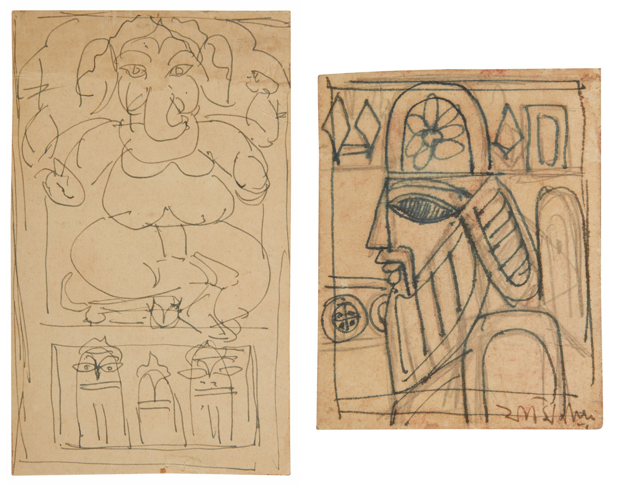 View full screen - View 1 of Lot 1809. JAMINI ROY | UNTITLED (GANESH); UNTITLED (KINGDOM OF CARDS).