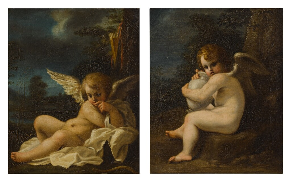 FOLLOWER OF BARTOLOMEO SCHEDONI, 18TH CENTURY   CUPID WITH A VASE; CUPID MUSING