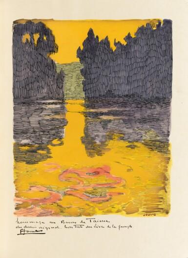 View 4. Thumbnail of Lot 128. Le Livre de la Jungle, 1919. Exceptionnel ex. avec laque de Dunand et plaque en argent de Jouve.