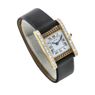 View 3. Thumbnail of Lot 305. A yellow gold, diamond and sapphire-set rectangular wristwatch, Circa 1985.