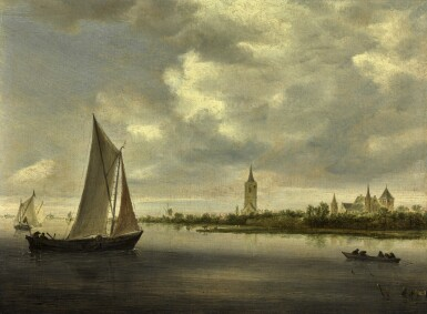 View 1. Thumbnail of Lot 9. A river landscape with sailing boats, possibly a view on the Wijkermeer | 《河上帆船風景,應為維格米爾的景觀》.