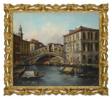 View 2. Thumbnail of Lot 620. VENETIAN SCHOOL, 19TH CENTURY | VIEW OF THE RIALTO BRIDGE FROM THE NORTH WITH THE PALAZZO DEI CAMERLENGHI, VENICE.