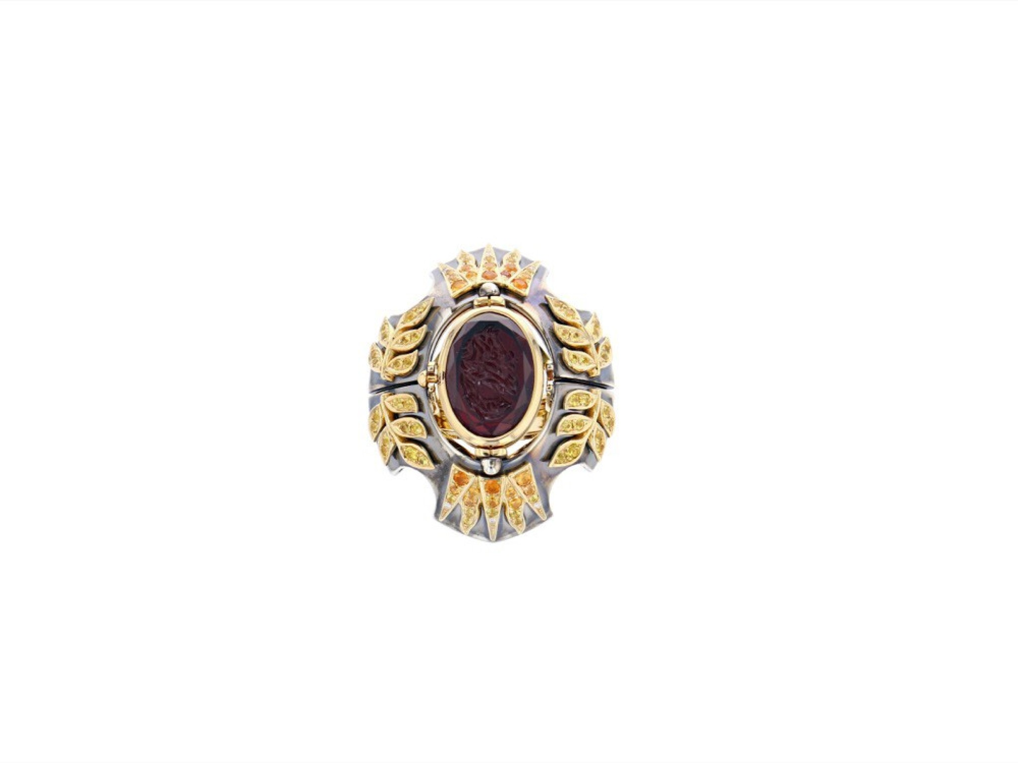 View full screen - View 1 of Lot 5. Elie Top, Yellow Sapphire, Garnet and Diamond Ring [Bague Diamants, Grenat Mandarine et Saphirs Jaunes], 'Feu D'été'.