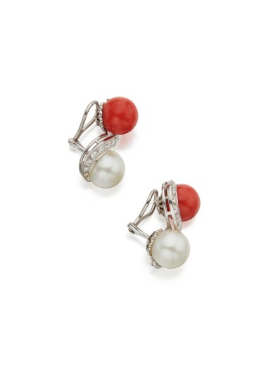 PAIR OF CORAL, CULTURED PEARL AND DIAMOND EARCLIPS, SEAMAN SCHEPPS