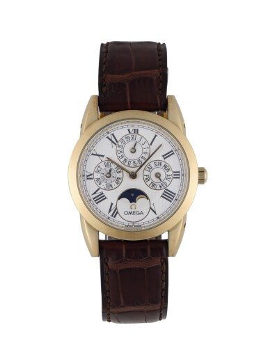 OMEGA | LOUIS BRANDT YELLOW GOLD PERPETUAL CALENDAR WRISTWATCH WITH MOON PHASES AND LEAP-YEAR INDICATION CIRCA 1995