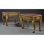 A PAIR OF EMPIRE GILT AND PATINATED BRONZE JARDINIERES NOW FITTED AS CENTRE TABLES, EARLY 19TH CENTURY