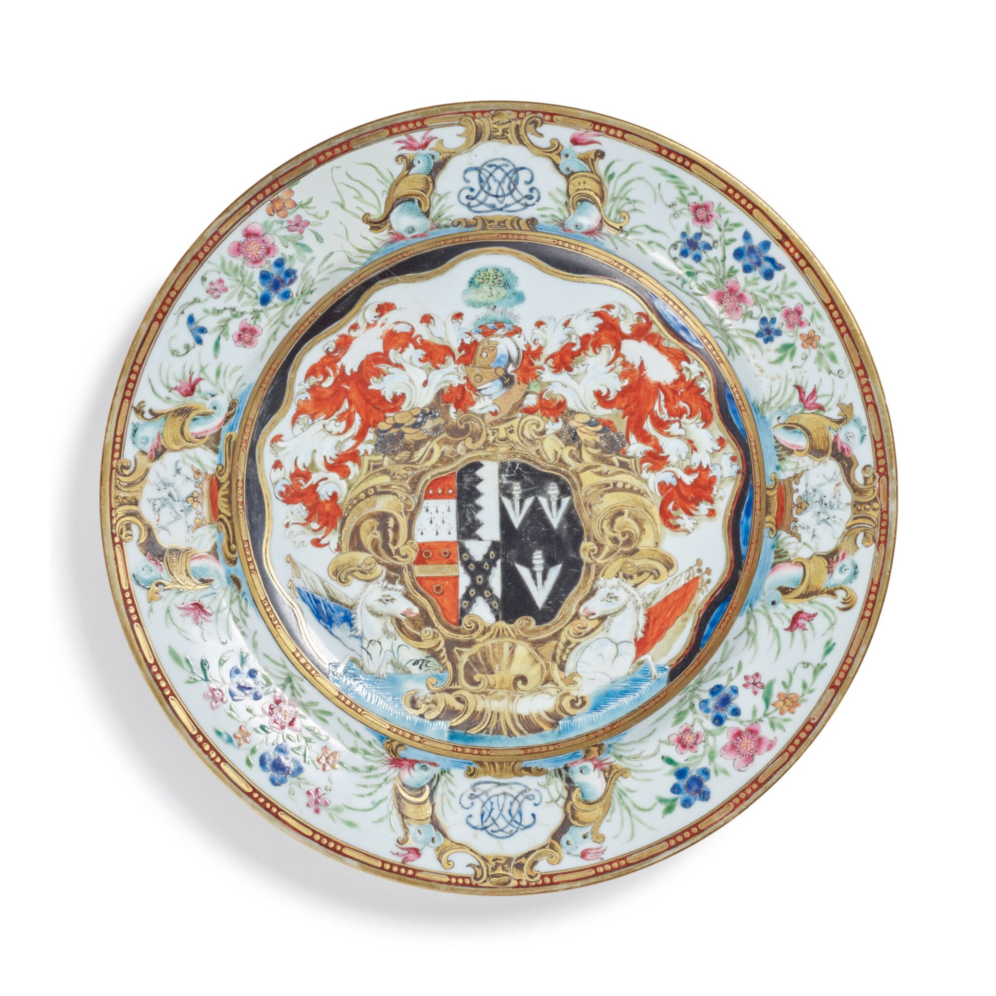View full screen - View 1 of Lot 1880. A CHINESE EXPORT ARMORIAL PLATE, QING DYNASTY, QIANLONG PERIOD, CIRCA 1743   清乾隆 約1743年 粉彩紋章圖盤.