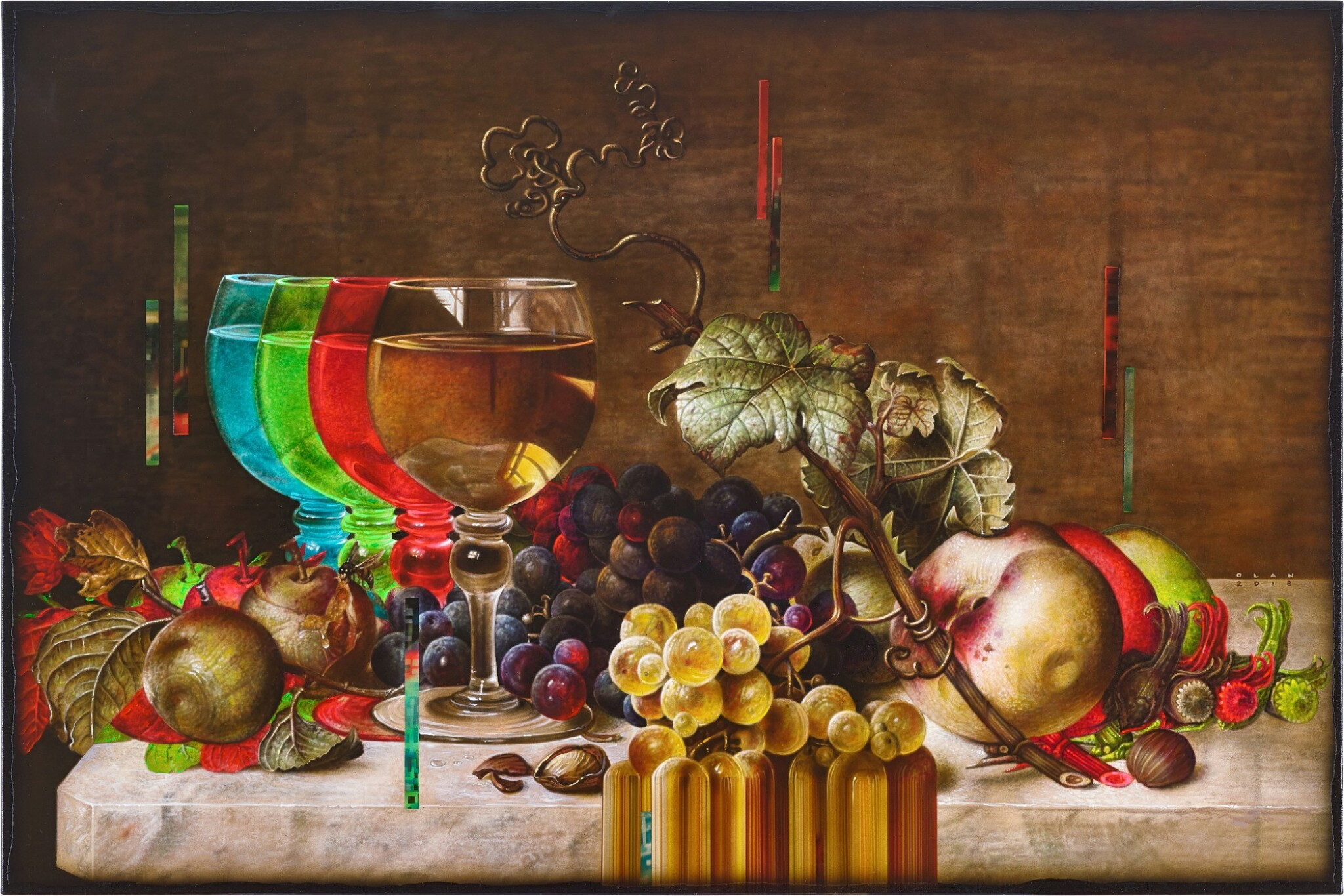 View full screen - View 1 of Lot 4544. Still Life with Wine Glass and Fruits   靜物與酒杯和水果 .