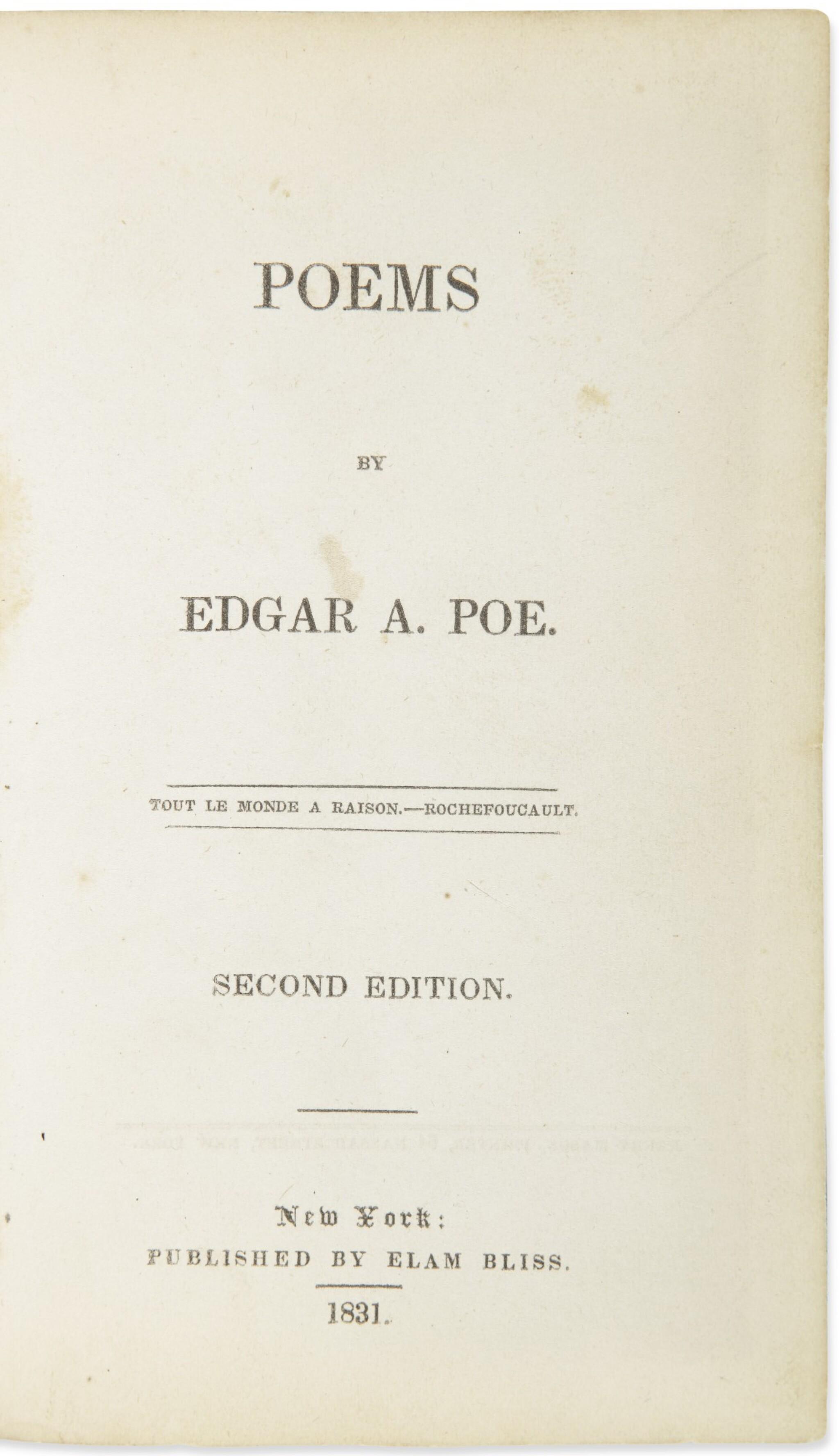 View full screen - View 1 of Lot 175. POE, EDGAR ALLAN | Poems. New York: Elam Bliss, 1831.